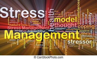 gerência stress, fundo, conceito, glowing