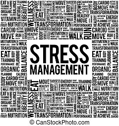 gerência stress, palavra, nuvem