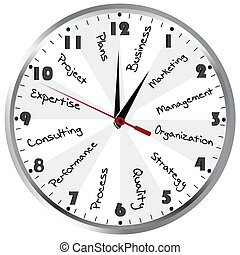 gerência, time., conceito, negócio, relógio