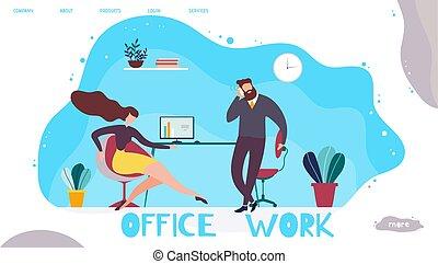 gerência, trabalho escritório, aterragem, promoção, página
