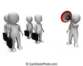 gerência, vendedores, gerente, megafone, reunião, ou, mostra