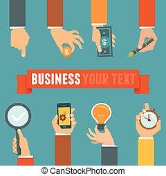 gerência, vetorial, conceito, negócio