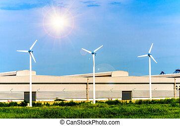 geração, areje turbina, fábrica, poder