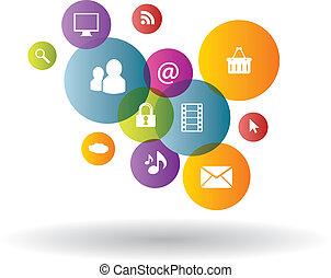 geração, comércio mídia, social