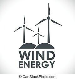 geração, energia, forma, logotipo, concept., vento