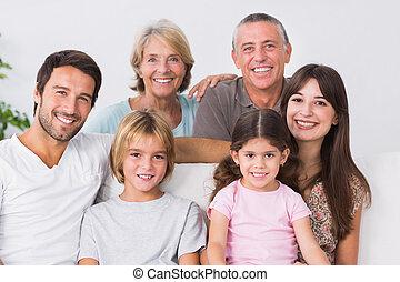 geração, família, três