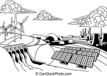 geração, fontes, energia, poder
