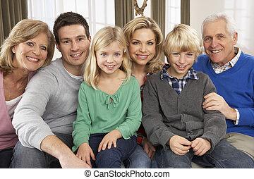 geração, lar, três, retrato familiar