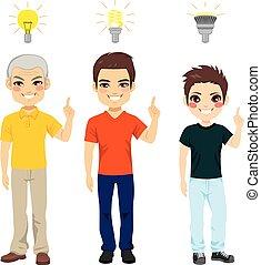 geração, luz, idéia, três, bulbo