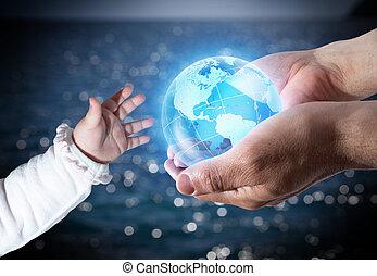 geração, mundo, dar, novo
