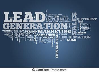 geração, palavra, nuvem, liderar