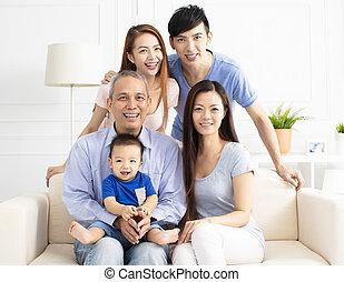 geração, retrato, três, família, asiático