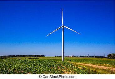 geração, turbina, poder vento