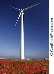 geração, turbina, -, poder vento