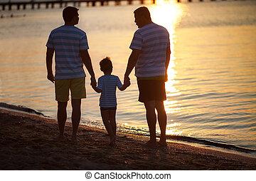 gerações, macho, pôr do sol, três, mar