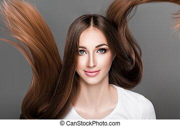 gerade, frau, glänzend, langer, hair.