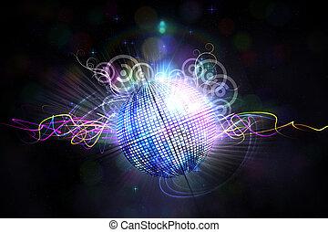 gerado, bola, digitalmente, discoteca