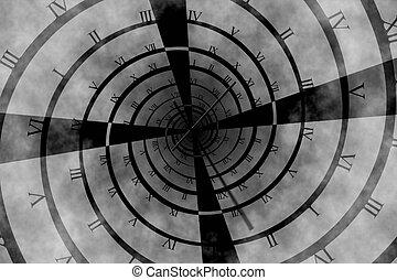 gerado, digitalmente, relógio, romana, vórtice, numeral