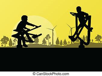 gerador, campo, jovem, ilustração, fazenda, vetorial, pátio ...