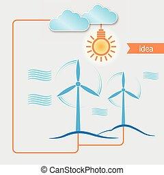 gerador, luz, energia, vetorial, fundo, bulbo, alternativa, vento