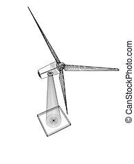 gerador, turbinas, ilustração, icon., vento, 3d