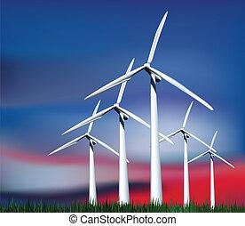 geradores, grass., vetorial, céu, vento