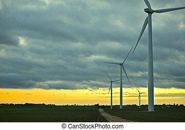 geradores, pôr do sol, vento