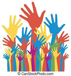 geral, eleição, votando, hands.