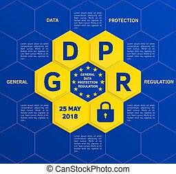geral, proteção dados, regulamento, (gdpr), conceito, maio, 25, 2018., vector.