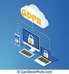 geral, proteção dados, regulamento, -, gdpr, isometric, concept., vetorial, illustration.