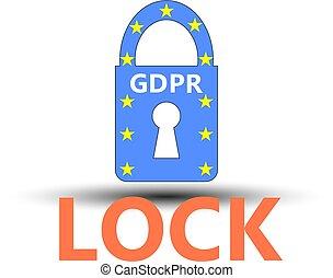 geral, proteção dados, regulamento, (gdpr), padlock