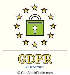 geral, proteção dados, regulamento, (gdpr)., padlock, com, stars.