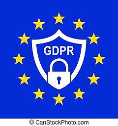 geral, proteção dados, regulamento, (gdpr)., vetorial, illustration.