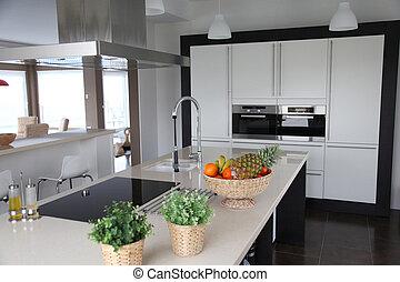 geral, vista, de, contemporâneo, cozinha lar