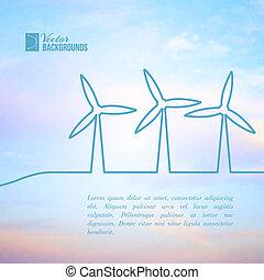 gerando, electricity., turbinas, vento