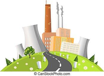 gerando, ilustração, vetorial, elétrico, fábrica, planta