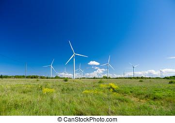 gerando, prado, electricidade, turbinas, verde, vento