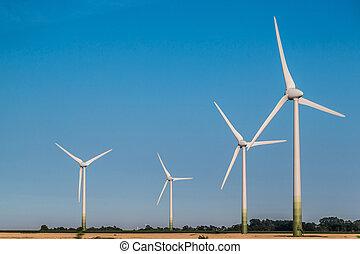 gerando, vento, electricidade, turbinas
