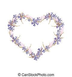geranio, y, equiphyllum, flores, en, un, forma corazón