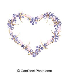 Love Concept, Illustration of Purple Geranium Flowers with Pink Equiphyllum Flowers Forming in Heart Shape Isolated on White Background.