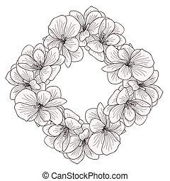 Geranium flowers frame engraving