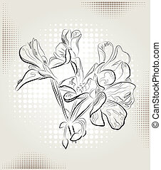 geranium flowers on the abstract background