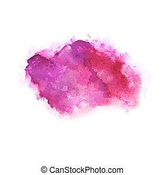 Geranium, hot pink and magenta watercolor stains. Bright color element for abstract artistic background.