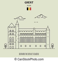 Gerard the Devil's Castle in Ghent, Belgium. Landmark icon in linear style