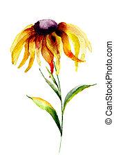 Gerber flower - Yellow Gerbera flower, watercolor ...