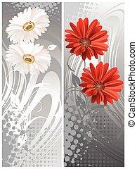 gerbera flowers, two banners. Vector