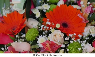 gerbera, tulips and mix of summer flowers bouquet for the...
