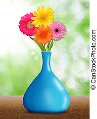 gerberas, en, el, florero azul