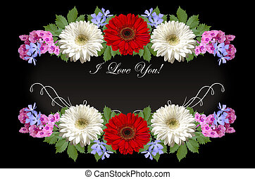 Gerberas,purple periwinkle and pink phloxes with greeting I...