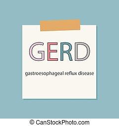 GERD Gastroesophageal Reflux Disease written in a notebook paper- vector illustration